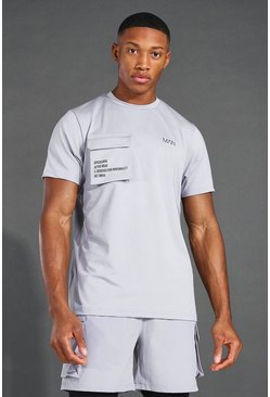 T-shirt à poches cargo - MAN Active, Gris chiné