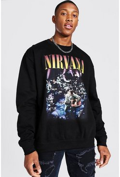 Black Oversized Nirvana License Sweatshirt