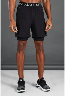 Short 2 en 1 à poches cargo - MAN Active, Noir
