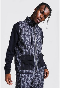 Black Original Man Camo Print Quilted Gilet
