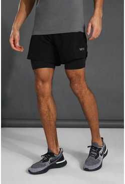 Man Active 2-in-1 Short, Black