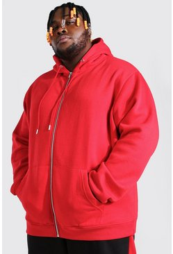 Red Plus Size Zip Through Hoodie