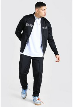 Black Worldwide Embroidered Smart Bomber Tracksuit