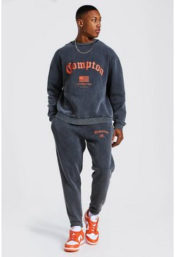 Charcoal Oversized Compton Acid Wash Sweater Tracksuit