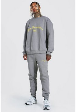 Charcoal Oversized San Francisco Sweater Tracksuit
