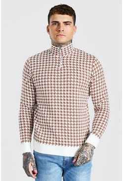 Cream Half Zip Dogtooth Knitted Jumper