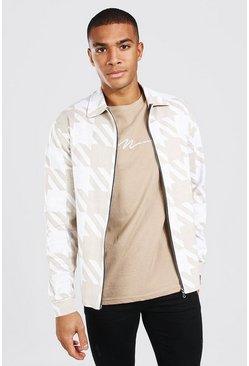 Cream Oversized Dogtooth Knitted Harrington Jacket