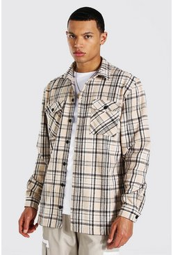 Beige Tall Heavy Weight Check Overshirt