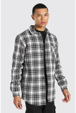 Ecru Tall Heavy Weight Check Overshirt