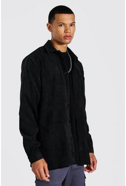 Black Tall Corduroy Button Through Shirt Jacket