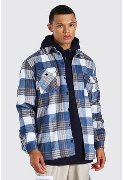 Blue Tall Heavy Weight Flannel Overshirt