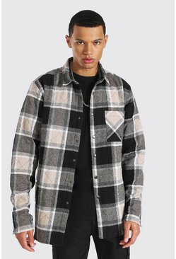 Brown Tall Large Check Quilted Overshirt