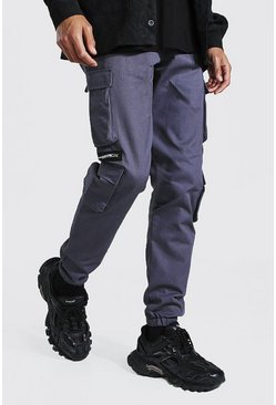 Slate Tall Man Twill Zip Multi Pocket Cargo Trouser