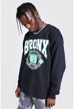 Black Loose Fit Ls Bronx Print T-shirt
