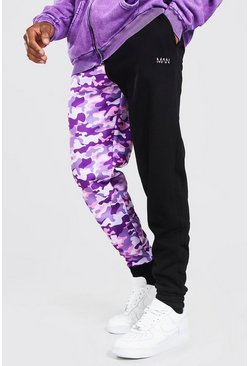 Original Man Camo Spliced Skinny Joggers, Pink