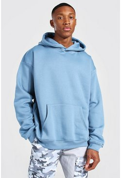 Dusty blue Oversized Over The Head Hoodie