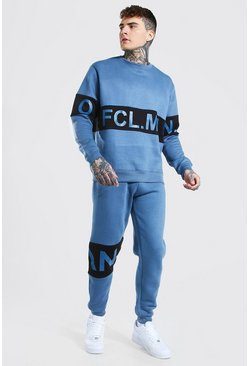 Blue Official Man Colour Block Sweater Tracksuit