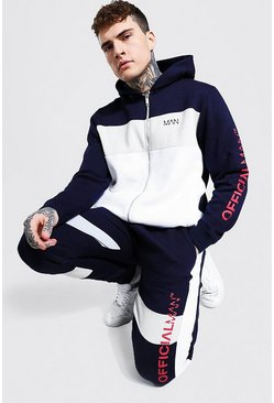 Navy Official Man Colour Block Zip Hood Tracksuit