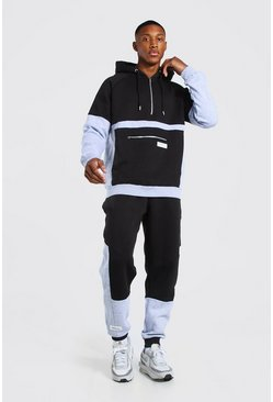 Black Official Man Colour Block Hooded Tracksuit
