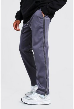Charcoal Official Man Wide Leg Tricot Zip Joggers
