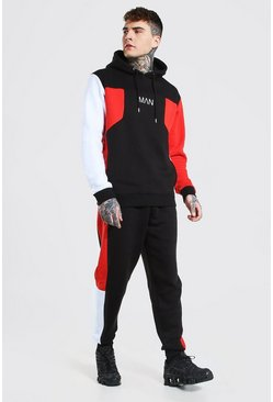 Red Original Man Colour Block Hooded Tracksuit