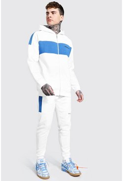 White Official Man Colour Block Zip Hood Tracksuit