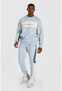 Grey Original Man Colour Block Sweater Tracksuit