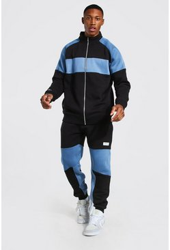 Black Colour Block Funnel Neck Tracksuit