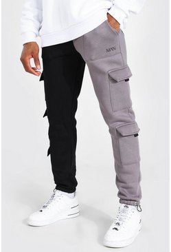 Grey Spliced Slim Utility Cargo Joggers