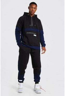 Navy Official Man Colour Block Hooded Tracksuit