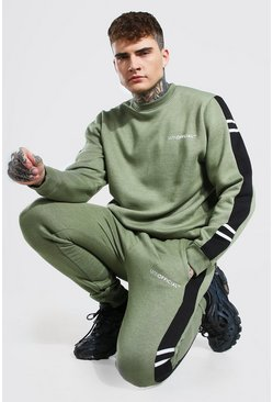 Khaki Man Official Side Panel Sweater Tracksuit
