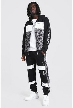 Black Official Man Camo Colour Block Zip Tracksuit