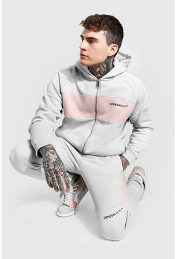 Grey Official Man Colour Block Zip Hood Tracksuit