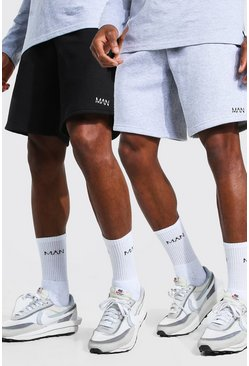 Multi 2 Pack Man Mid Length Regular Jersey Shorts