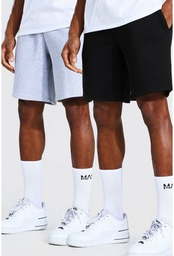 Multi 2 Pack Man Mid Length Slim Jersey Shorts