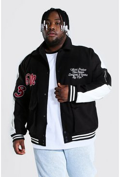 Black Plus Size Utility Varsity Harrington