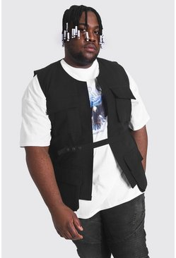 Black Plus Size Twill Utility Vest With Belt Detail