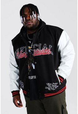 Black Plus Size Hooded Varsity Harrington