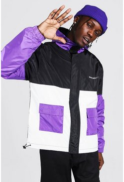 Purple Colour Block Man Branded Front Pocket Cagoule