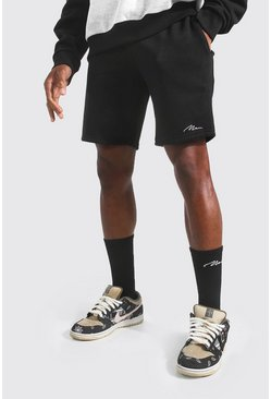 Black Man Signature Mid Length Slim Jersey Shorts
