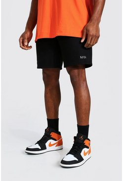 Black Original Man Mid Length Regular Jersey Shorts