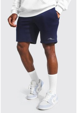 Navy Man Signature Mid Length Slim Jersey Shorts