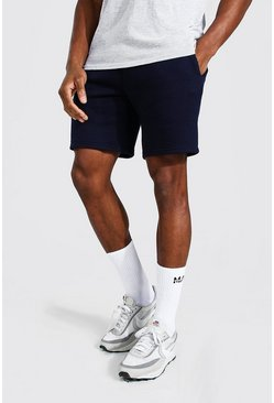 Navy Basic Mid Length Slim Jersey Shorts