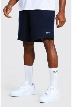 Navy Original Man Mid Length Loose Jersey Shorts