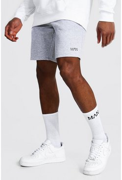 Grey marl Original Man Mid Length Slim Jersey Shorts