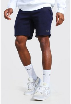 Navy Original Man Mid Length Slim Jersey Shorts