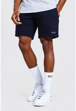 Navy Original Man Mid Length Regular Jersey Shorts