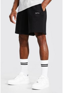 Black Original Man Mid Length Loose Jersey Shorts