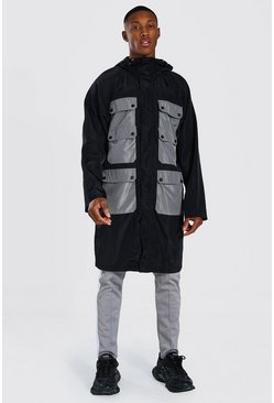 Black Colour Block Pocket Longline Parka