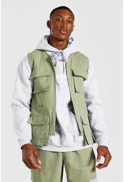 Sage Twill Utility Pocket Vest With Belt Detail